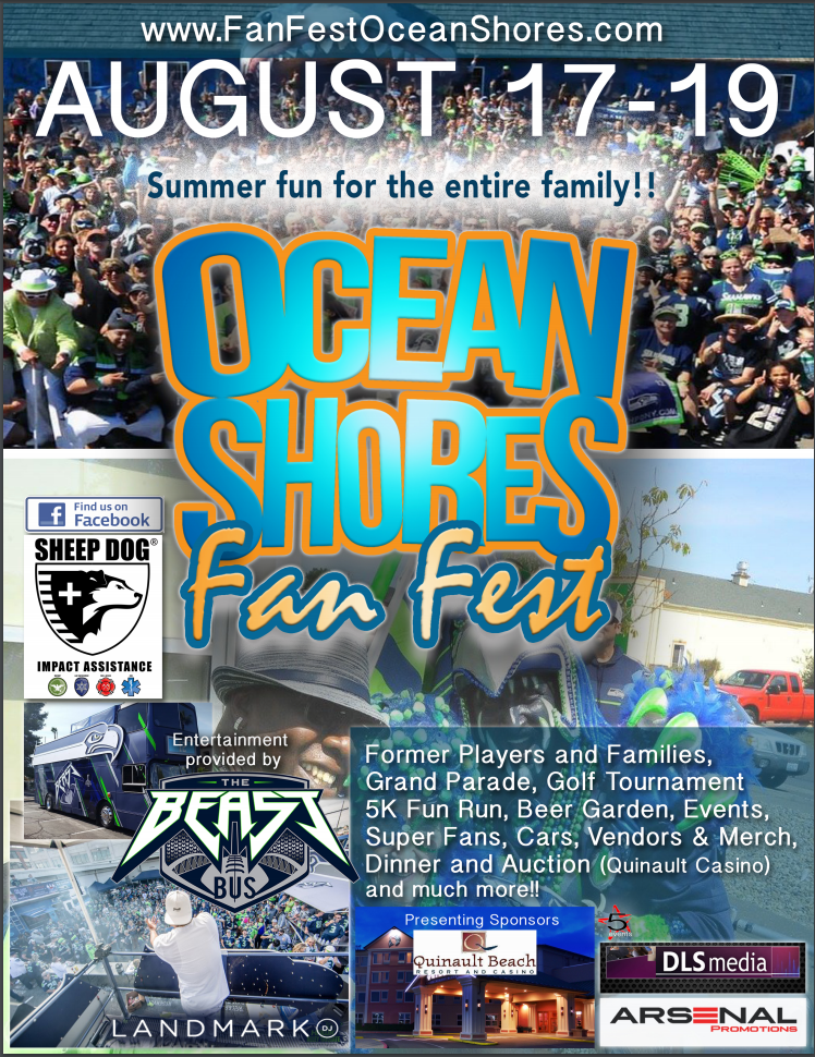 2018 flyer for 12's Fan Fest and Beach Party