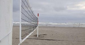 Beach volleyball net.