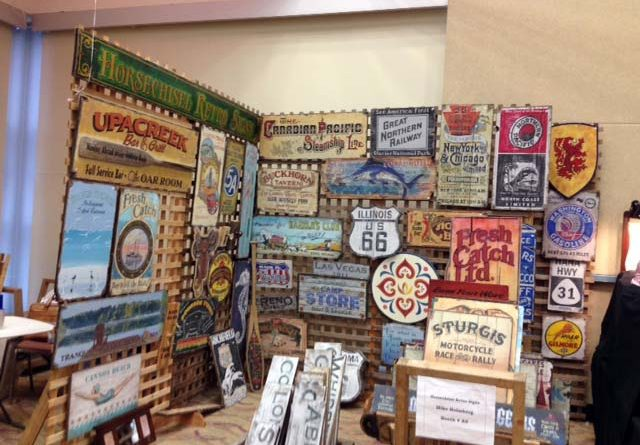 Antique Sign Booth at the Ocean Shores Antique Show.