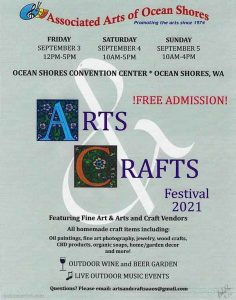 Ocean Shores Arts and Crafts Festival 2021 poster.