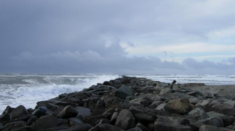 Ocean Shores North Jetty during a storm.