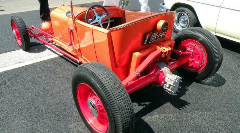 Orange classic car.